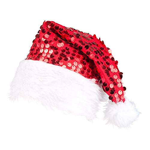 Boland 13404 – Christmas Hat with Red Sequins, White Plush Edge and White Bobble Hat Santa Sequins, One Size Fits All Comfortable, Christmas, Medieval Themed Party, Carnival, Party Decoration