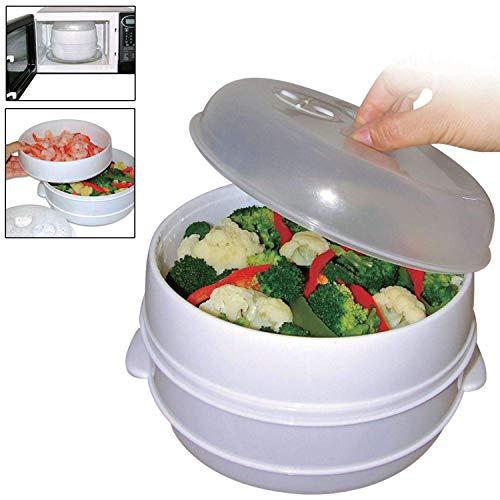 Contenitore su 2 livelli per cottura a vapore da microonde per riso, pasta e verdure