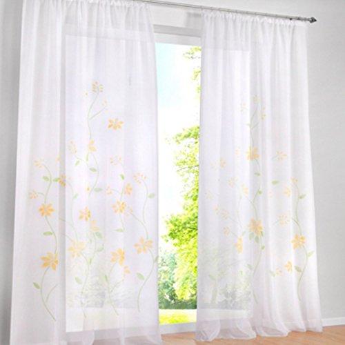 Yujiao Mao Pack de 1 cortina de gasa con flores coloridas, cortina con cinta fruncidora, amarillo, 150 x 175 cm