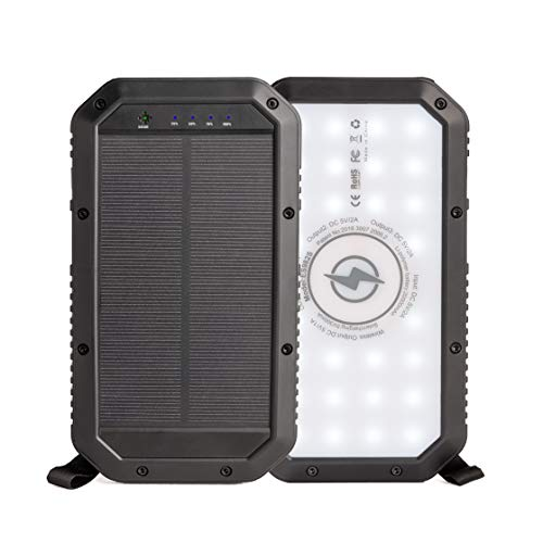 Solar Power Bank Portable Charger – Rugged, Water-Resistant Solar Charger Power Bank w/Wireless Charger Pad, 3 Fast-Charging USB Ports – 20,000mAh Portable Power Bank w/ 72-Hour Bright LED Flashlight
