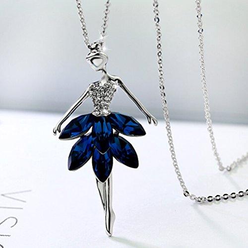 OULII - Collar de bailarina ballet bailarina con colgante de cristal (azul)