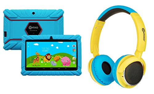 """Contixo 7"""" Educational Learning Kids Tablet 8gb & Kid Safe 85db Bluetooth Over The Ear Headphones Bundle (Light Blue) - Best Gift"""