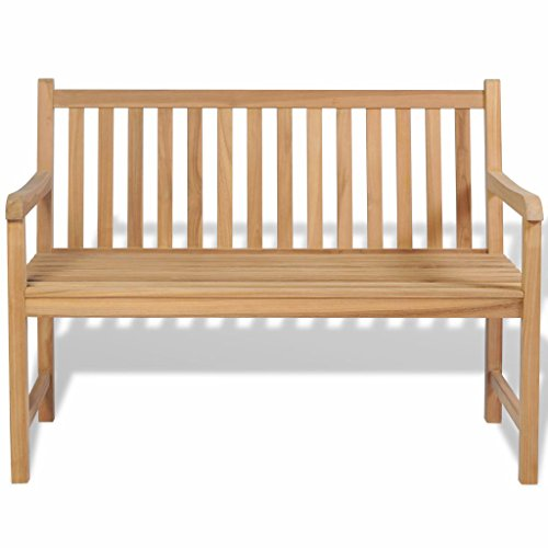 Tidyard 2/3 Sitzer Gartenbank, Teak-Holz, Sitzbank, Massive Holzbank, für Balkon oder Garten
