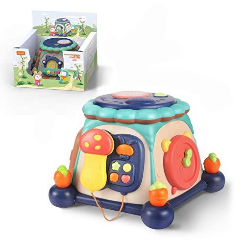 Actividad bebés niños 6 en 1 Cube Instrumentos musicales de batería luces y sonidos, juguetes contar cuentos, regalo pequeños, niños niñas 12-18 meses Halloween, Navidad nuevo, regalo de cumpleaños