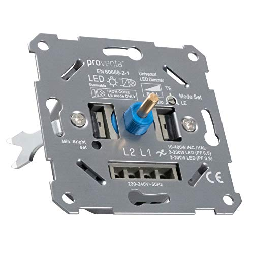Regulador universal para LEDs (3-150W) y halógenos/incand. regulables (10-400W). Ancho 24mm. Regulación LE, TE. Autodetección de carga TE. Adaptador incl. para Busch-Jaeger, Gira, Merten, Jung, Berker