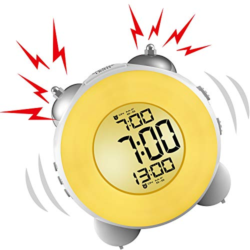 Banne Bon lauter Wecker, kein Ticken, für den Nachttisch, batteriebetrieben, Schlummerfunktion, Nachtlicht für Tiefschläfer