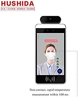 Hushida 8inch AI Biometric Thermal Imaging Temperature Measurement Thermometer Panel with Face Recognition Camera System Accuracy ± 0.3℃ Non Contact Detector