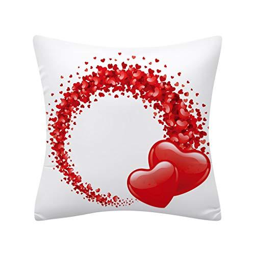 Watopi - Funda de cojín con diseño de corazón romántico, Estampado en 3D, diseño de Rosa de San Valentín, Cuadrado, 45 x 45 cm, Boda, Compromiso, decoración del hogar