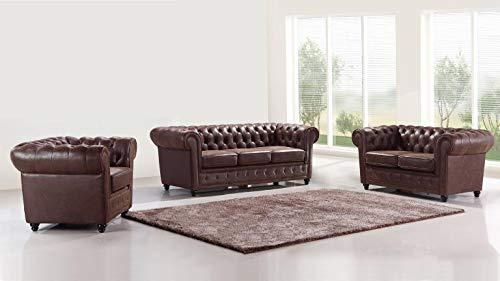 JVmoebel Design Chesterfield 3+2+1 Sofagarnitur Leder Sitz Couch Sofa Polster Garnitur