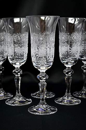 Champagne Wedding Flutes set of 6, Wine Water Glasses 5oz, Hand Cut Crystal Glass, Bohemia Czech Glass, Crystal Gift, Wedding Decor
