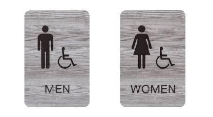 Men & Women ADA Restroom (Bathroom) Sign Set w/Braille (Ash Grey)