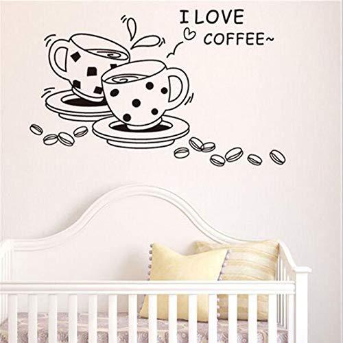 ganlanshu Ich Liebe Kaffee wandtattoos abnehmbare niedlichen kaffeetasse küche Restaurant wandaufkleber Vinyl wandaufkleber Dekoration 72 cm x 75 cm