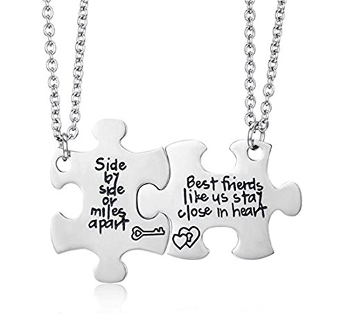 Poshzone 2 Pcs Silver Best Friends Necklaces Set Pizza for Teen Girls BFF Friendship Necklaces