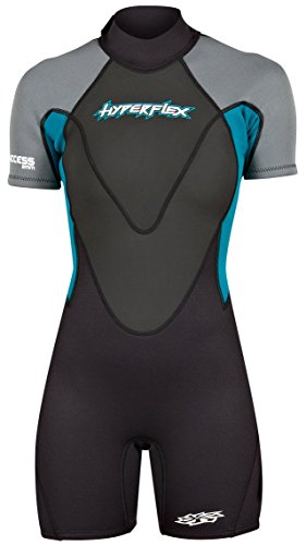 HYPERFLEX Men's and Women's 2.5mm Shorty Springsuit Wetsuit – SURFING, Water Sports, Scuba Diving, Snorkeling - Comfort, Flexible, Anatomical Fit, Adjustable Collar, Back-Zip