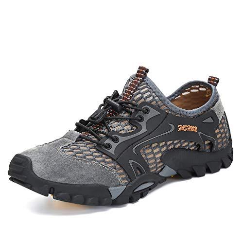 Flarut Sandalias Deportivas Trekking Hombres Verano Pescador Playa Zapatos Casuales Transpirable Zapatilla de Senderismo Deportes Montaña y Asfalto Zapatos para Correr Malla(Gris,43)
