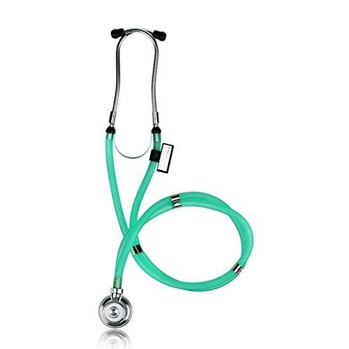 Medizinisches Stethoskop-Edelstahl-Doppelschlauch-Doppelter Kopf PVC-Fachmann-Qualitäts-Licht Multifunktions-Erwachsenes Kind-Fötales Herz-Kopfhörer-Grün