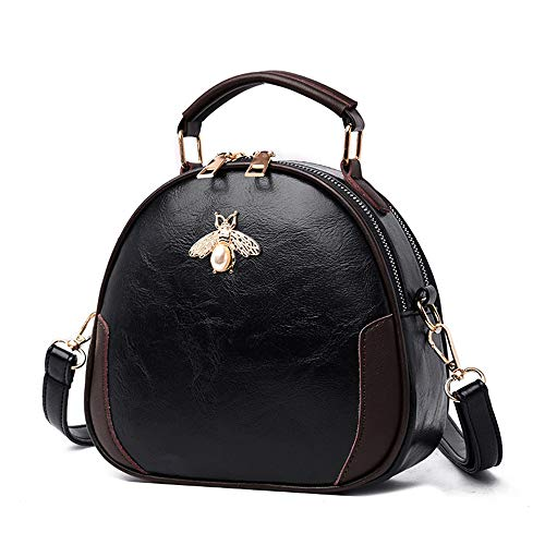 Elegant Retro Small Shoulder Bag Soft PU Leather Handbag Top Handle Satchel Crossbody Bag With Bee For Women Ladies (Black)
