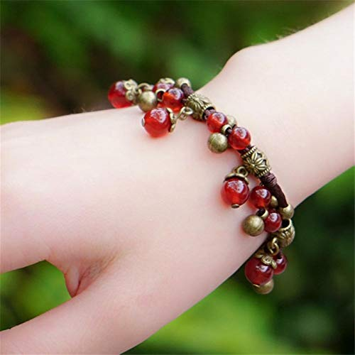 Shability Beautiful Pure Handmade Four Colors Natural Chalcedony Broze Bell Chinese Silk String Bracelet Quality Original Ethnic Jewelry yangain (Color : Red)