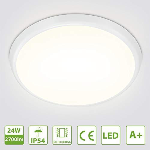LED Deckenlampe 24W, 2700Lm LED Deckenlampe Naturalweiß, Oeegoo IP54 Bürodeckenleuchte Für Schlafzimmer, Kinderzimmer, Flur, Badezimmer, Keller, Abstellkammern, Shop, Büro, 4000K