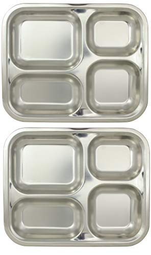 Marinax Bandeja rectangular de acero inoxidable, 2 unidades, 25,2 x 20,7 x 2,1 cm, 4 compartimentos separados/separadores