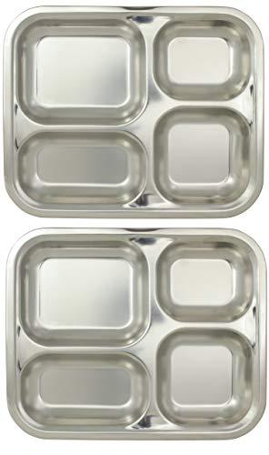 Marinax 2Stück Edelstahl Essenstablett 25,2x20,7x2,1cm rechteckig – 4-Facher Unterteilung/Unterteilt - Kantinentablett