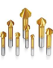Camtek 8 piezas Avellanador 90°HSS Juego de Brocas Avellanadoras para Metal Madera Aluminio, Cubiertas de Titanio 6.3mm ~ 20.5mm