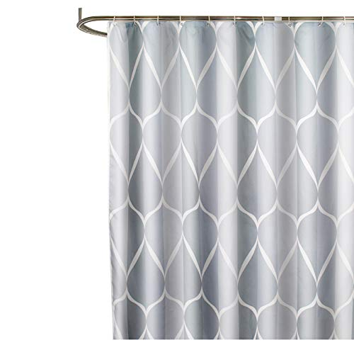 Sfoothome Gray Smart Printed Pattern, Waterproof Polyester Fabric Shower Curtain with Free Hooks for Bathroom (72 Inch by 72 Inch)-Gray