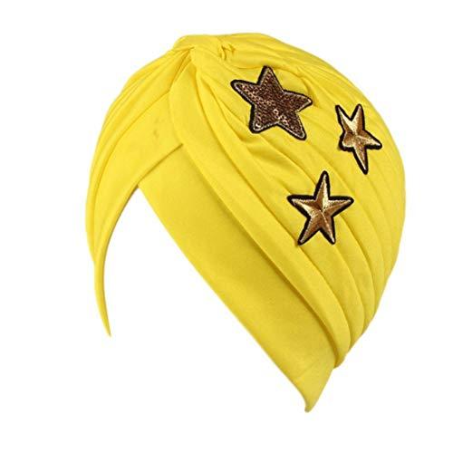 Mujer Cáncer De La Chic Friends Alopecia Higiene Maquillaje Quimioterapia Moda Sombrero Pliegue Elástico Turbante Negro Amarillo Rosa Azul Púrpura con Estrellas