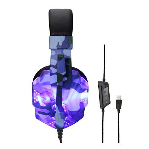 YPJKHM 7.1-Kanal USB-beleuchtetes Headset Sound, Tarnlicht-Headset mit Noise Cancelling-Mikrofon und LED-Licht