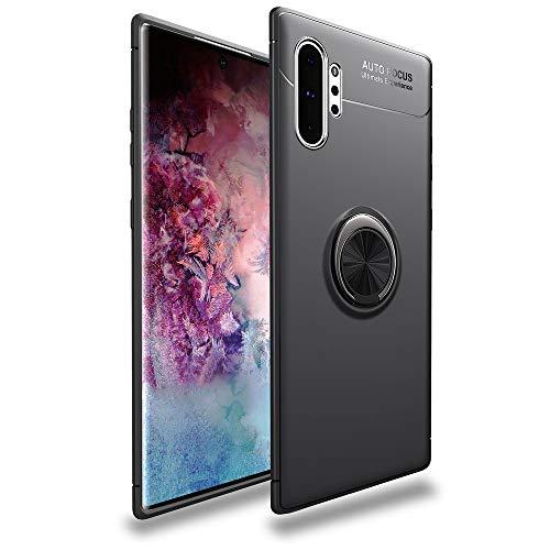 Galaxy Note 10 Plus ケース リング付き SC-01M ケース SCV45 ケース 360度回転 落下防止 耐衝撃 DINGXIN TPU カバー スタンド機能 薄型 軽量 指紋防止 車載ホルダー対応 ギャラクシー Note 10 plus スマホケース (Galaxy Note10+, ブラック)