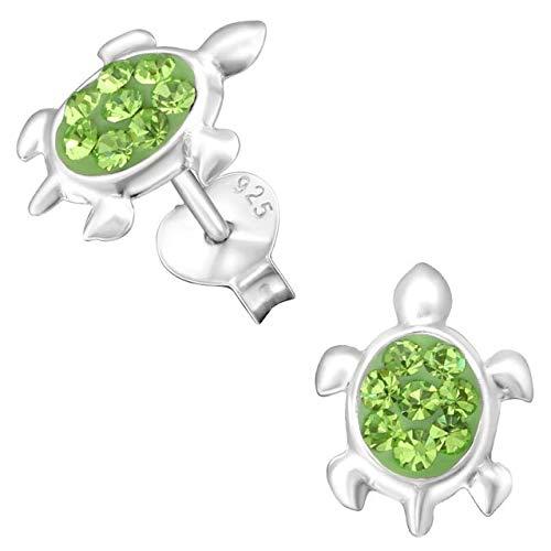 JAYARE Ohrringe Mädchen Schildkröten peridot-grün 925 Sterling Silber Glitzer Ohrstecker Turtle Kinderohrstecker Mädchenohrringe Kinder Schmuck