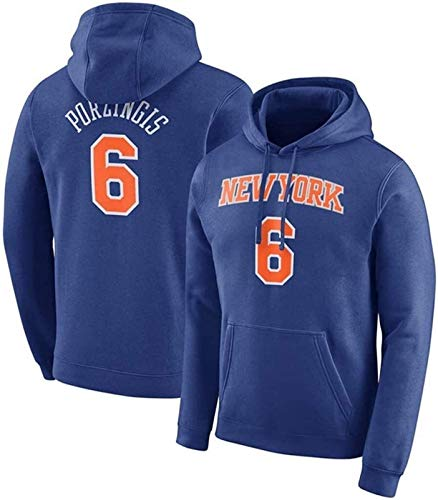 Sudadera con capucha NBA Sudadera con capucha con capucha para hombres Jersey de Baloncesto New York Knicks6 Kristaps Porzingis Sudadera de manga larga Sweatshirt Suéter deportivo Jóvenes Casual Suéte