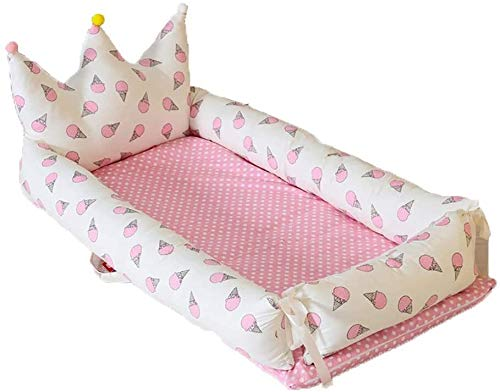 YYhkeby Portable Folding Double-Layer Cotton Crib Bed, Multifunctional Baby Bionic Mattress, Newborn Nest Bed Detac. Jialele (Size : E)