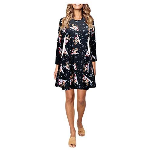 Dwevkeful Damen Weihnachten Kleid Elegant Langarm Rundhals A-Linie Weihnachten Print Minikleid Sweatshirts Partykleid Abendkleider Sommerkleid
