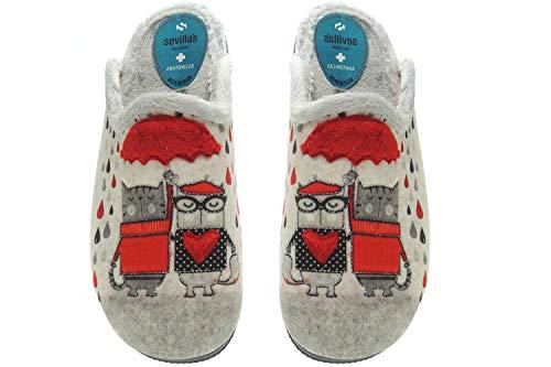Zapatillas Casa Mujer Invierno Divertidas - Chinela Destalonada Semidescalza - Fabricadas en España - Marca [Sevillas & Alberola] Gatos Talla 38