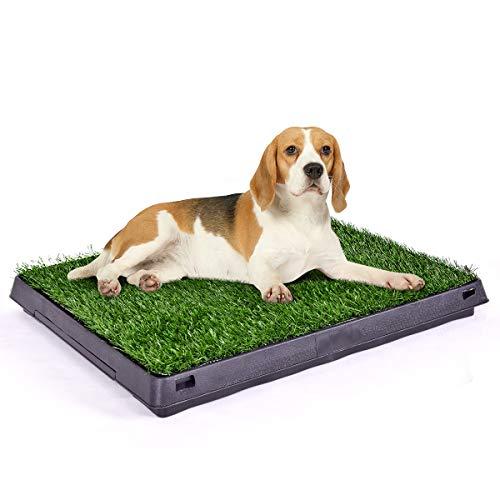 GOPLUS Rasenmatte als Hundetoilette, Töpfchen-Trainer mit Kunstrasen und ausziehbarem Fach, Rasenmatteals Trainingsunterlage für Hunde/Katzen/Welpen/kleinere Haustiere, 51 x 63 x 6 cm
