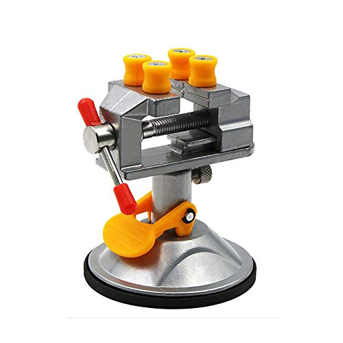 Lheng Universal Mini Suction Vise Clamp 360 Degrees Drill Press Vise Table Bench Vice with Suction Base for DIY Hobby Jewelry Watch Repairing Nuclear Sculpture Craft Carving Clip On Tool Silver