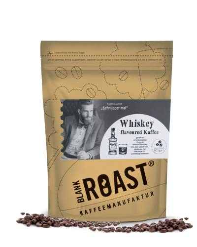 BLANK ROAST | Manufakturkaffee (Flavoured Kaffee) | WHISKEY im Jack Daniels Fass gereift | Kaffee | Cafe Creme | 500g Aromabeutel Farbe als ganze Bohne, Größe 500g