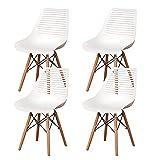 Set di 4 Sedie da Pranzo, Sedia da Cucina Elegante Stile Nordico per Ufficio da Letto della Cucina Ufficio Ristorante (Bianco 02)