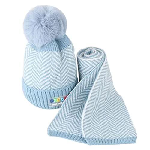 iSunday (2 sombreros de bebé para invierno, sombrero de punto, para niños, otoño e invierno, lana cálida, gorro de lana para bebé, gorro de punto para niños (azul)