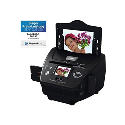 Rollei PDF-S 240 SE - Multi escáner de 5,1 megapíxeles para diapositivas, negativos y fotos, incl, Software de edición de imágenes, Color Negro