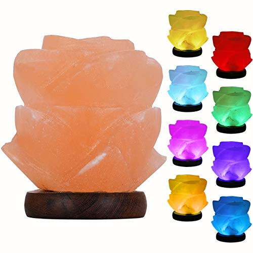 FANHAO Himalayan Salt Lamp with 7 Colors Changing, USB Flower-Shaped Night Light Salt Crystal Lamps for Home Décor Holiday Gifts, LED Bulb + Real Wood Base