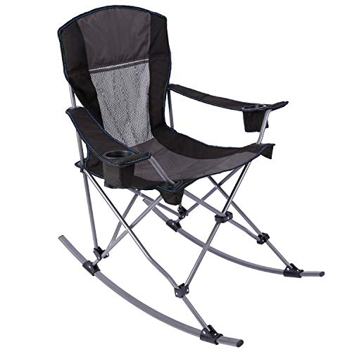 CAMPMOON Outdoor Rocking Chair Folding, Sturdy Heavy Duty Rocking Patio Lawn Chair for Adults, Comfortable with High Back, Black Mesh