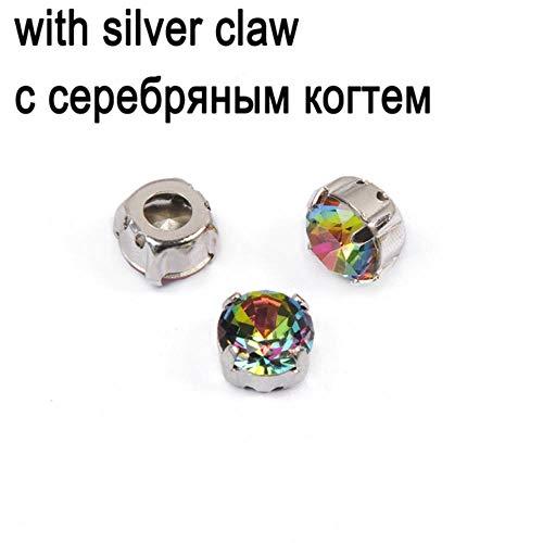 3bI K9 Glaskristall VM Strass zum Aufnähen auf der Rückseite, silberne Basis, Brilliantschliff, Strass für Tasche, Hochzeitskleid, Kristall mit Silber, 8 mm - 21 Stück