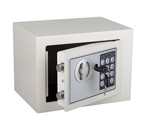 Cassaforte elettronica a batterie con combinazione numerica e doppia chiave. MWS (Beige)