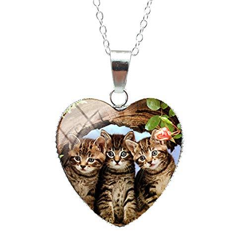 Precioso gatito lindo bebé pequeños gatos patrones dulces colgantes de corazón joyería de gatitos lindos collar de cadenas de moda 1