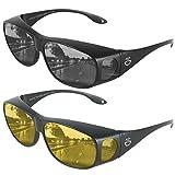Fit Over HD Day / Night Driving Glasses Wraparound Sunglasses for Men, Women - Anti Glare Polarized Wraparounds (Night Vision / Sunglasses)