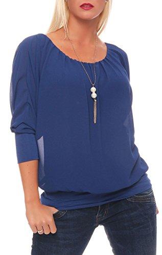 Malito Damen Bluse mit passender Kette | Tunika mit ¾ Armen | Blusenshirt mit breitem Bund | Elegant - Shirt 1133 (blau)
