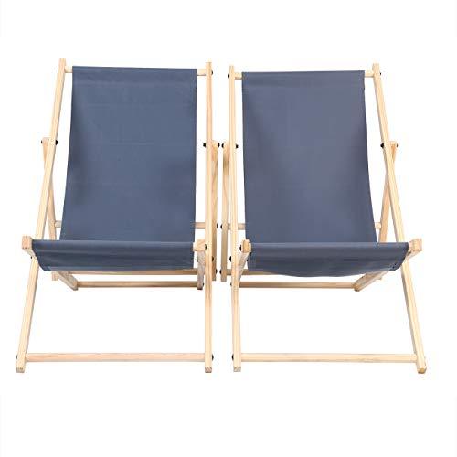 Liegestühle Klappbare Holz Klappstuhl Sitz mit 3 Verstellbaren Ebenen Outdoor Camping Freizeit Picknick Strandkorb Klappbarer Strandkorb aus Holz Packung mit 2 Stück