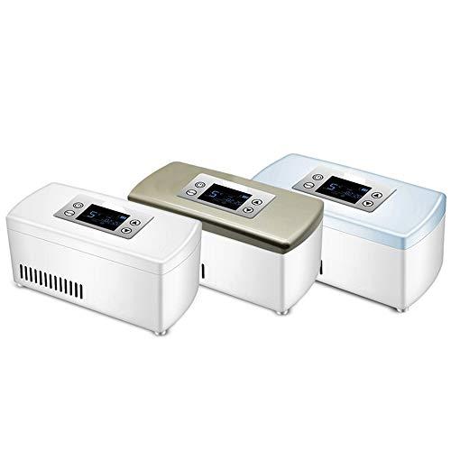 Mini Refrigerador PortáTil De Insulina Caja Refrigerada Nevera EléCtrica Refrigerador De Medicamentos para El Hogar Oficina Viaje Blanco Azul Oro